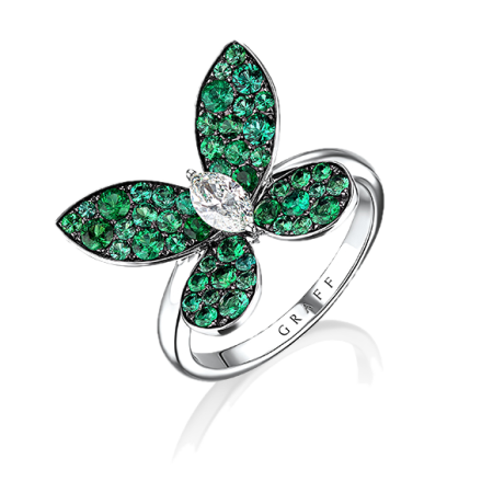 GRAFF DIAMOND PAVE BUTTERFLY EMERALDS RING