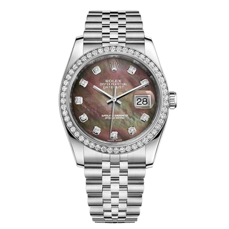 Часы Rolex DATEJUST 36 MM OYSTERSTEEL WHITE GOLD AND DIAMONDS 116244 Black mother of pearl diamonds