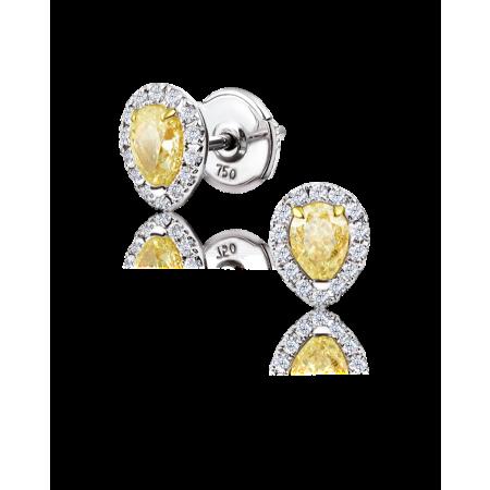 Серьги No name пуссеты с бриллиантами по 0 42ct 0 42ct Fancy Light Yellow