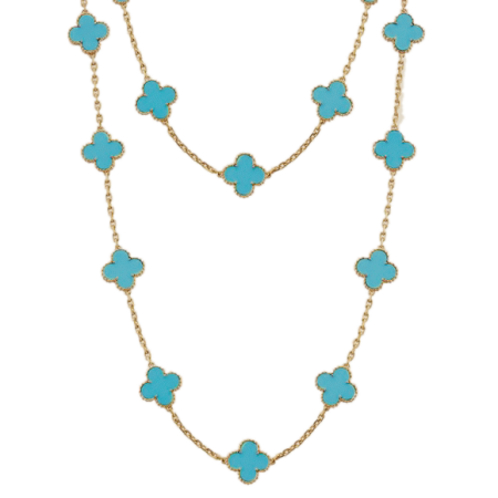 Колье Van Cleef & Arpels Van Cleef and Arpels Alhambra Vintage Turquoise 18k Yellow Gold Necklace