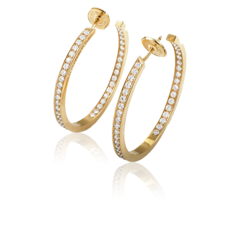 Серьги Cartier Classic Diamond Gold Hoop CRT02021618
