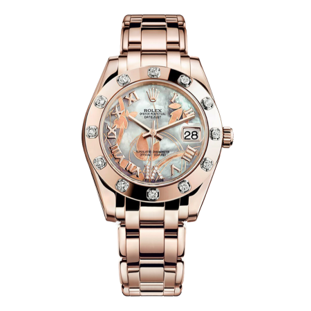 Часы Rolex Pearlmaster Everose Gold 34 mm 81315 White MOP