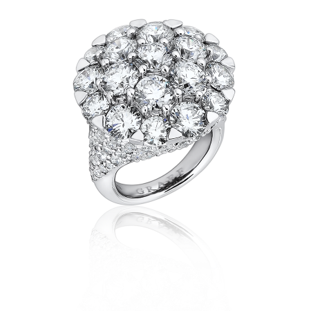Graff КОЛЬЦО White Round Domed Ring Set With A White Round Diamond Pave Shank ref RGR 192 DOMED