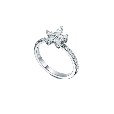 Кольцо Tiffany&Co. Tiffany Victoria -кластер с бриллиантами различных огранок.
