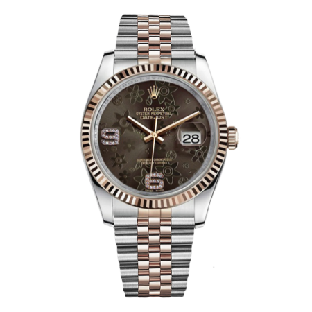 Часы Rolex Datejust 36mm Steel and Everose Gold 116231 Brown Floral Diamonds Dial Jubilee