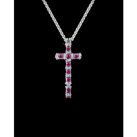 Крест RALFDIAMONDS  с бриллиантами и рубинами