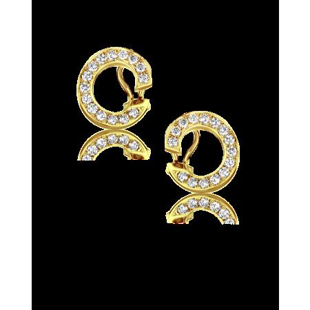 Серьги Chopard Diamond Hoop Yellow Gold Earrings 84 6907