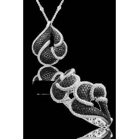 Комплект No name с белыми и черными бриллиантами
