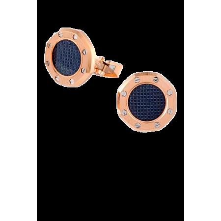 Запонки Audemars Piguet Cufflinks Royal Oak Pink Gold Blue Center