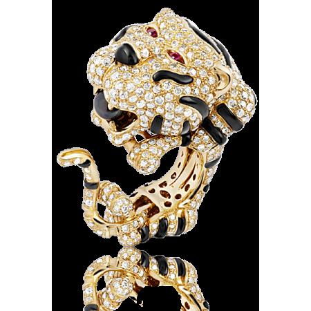 Кольцо No name  Тигр с бриллиантами и эмалью
