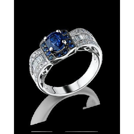 Кольцо с бриллиантом No name Кольцо с багетными бриллиантами и сапфиами.