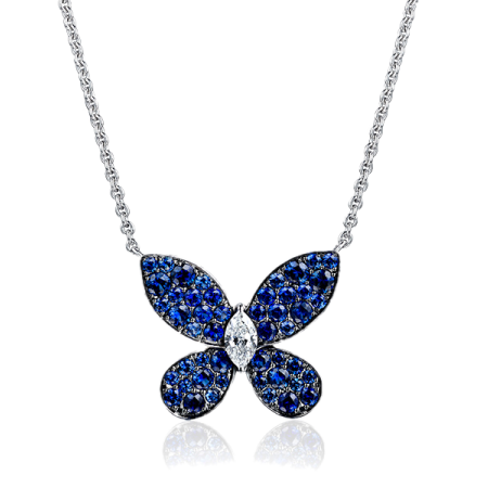 Колье Graff PAVE BUTTERFLY SAPPHIRE WHITE GOLD PENDANT