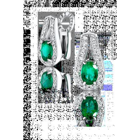Серьги No name с бриллиантами и изумрудами