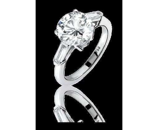 Кольцо с круглым бриллиантом 3.04 G/VS1
