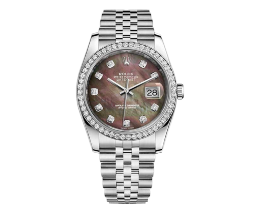 ROLEX DATEJUST 36 MM, OYSTERSTEEL, WHITE GOLD AND DIAMONDS 116244 Black mother-of-pearl diamonds