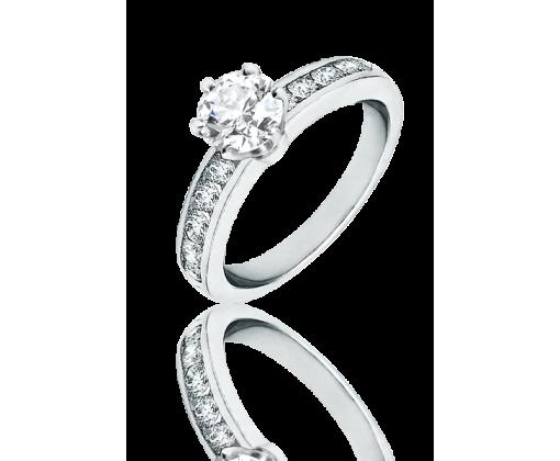 Помолвочное кольцо Tiffany® Setting из платины с бриллиантами в канальной закрепке 0,98 ct.  F/VVS1