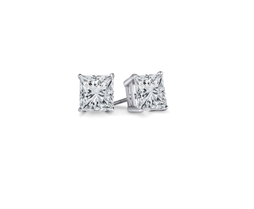 GRAFF PRINCESSE CUT DIAMOND EARRINGS 1.00 CT E/VS1 - 1.00 CT E/VS1
