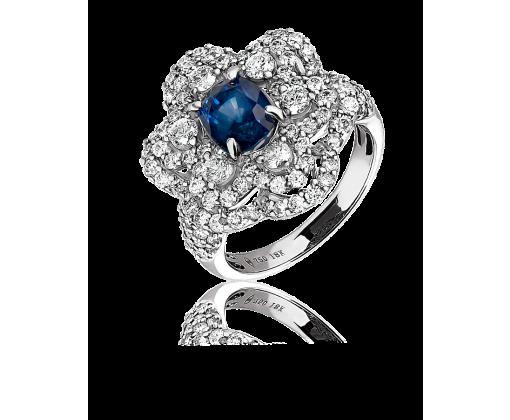 Кольцо с бриллиантами и сапфиром
