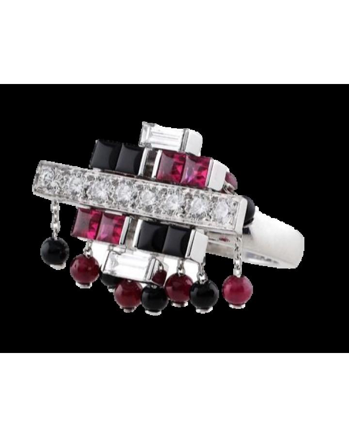 Кольцо Cartier  Le Baiser du Dragon Ruby Onyx Diamond Tassel