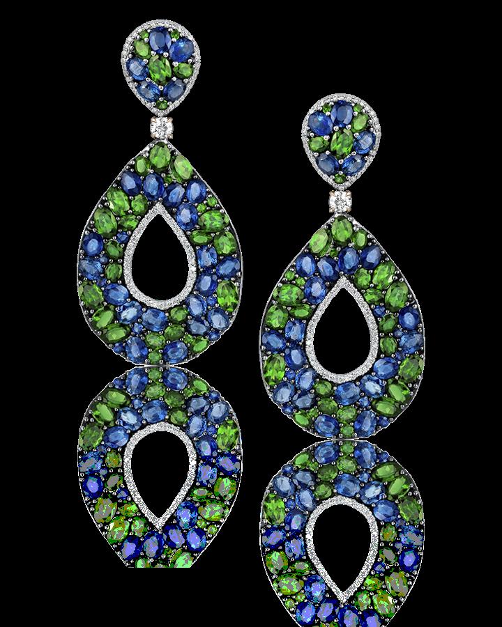 Серьги Yanush Gioielli  с сапфирами бриллиантами и изумрудами