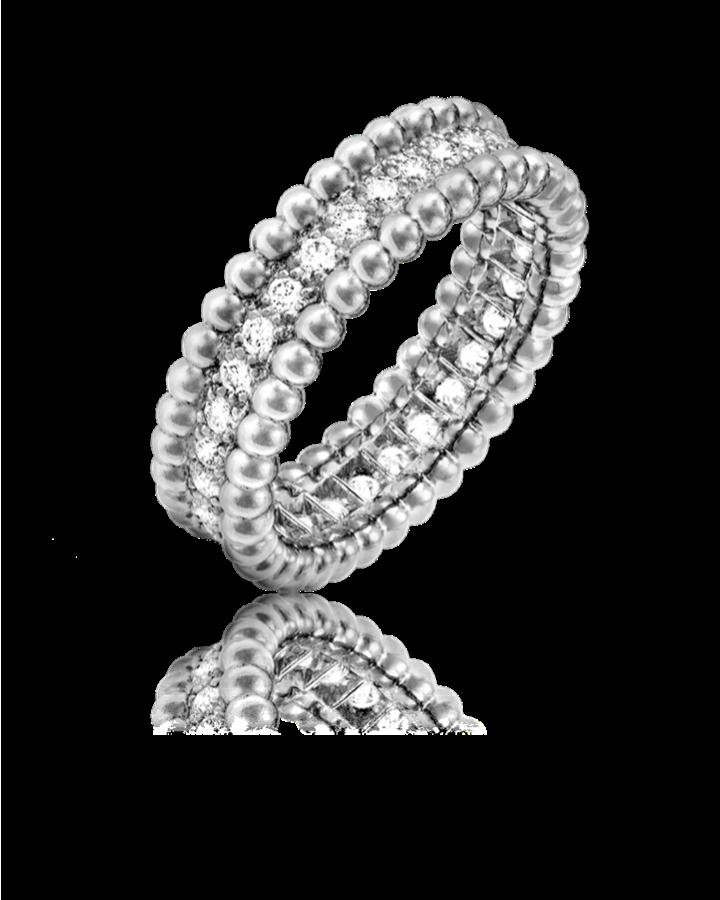 Кольцо Van Cleef & Arpels  Perlée Diamants 1 ряд VCARP4E200