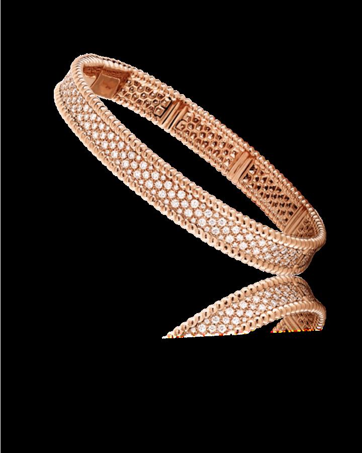 Браслет Van Cleef & Arpels  Perlée diamants 3 ряда модель среднего размера VCARN9WF00
