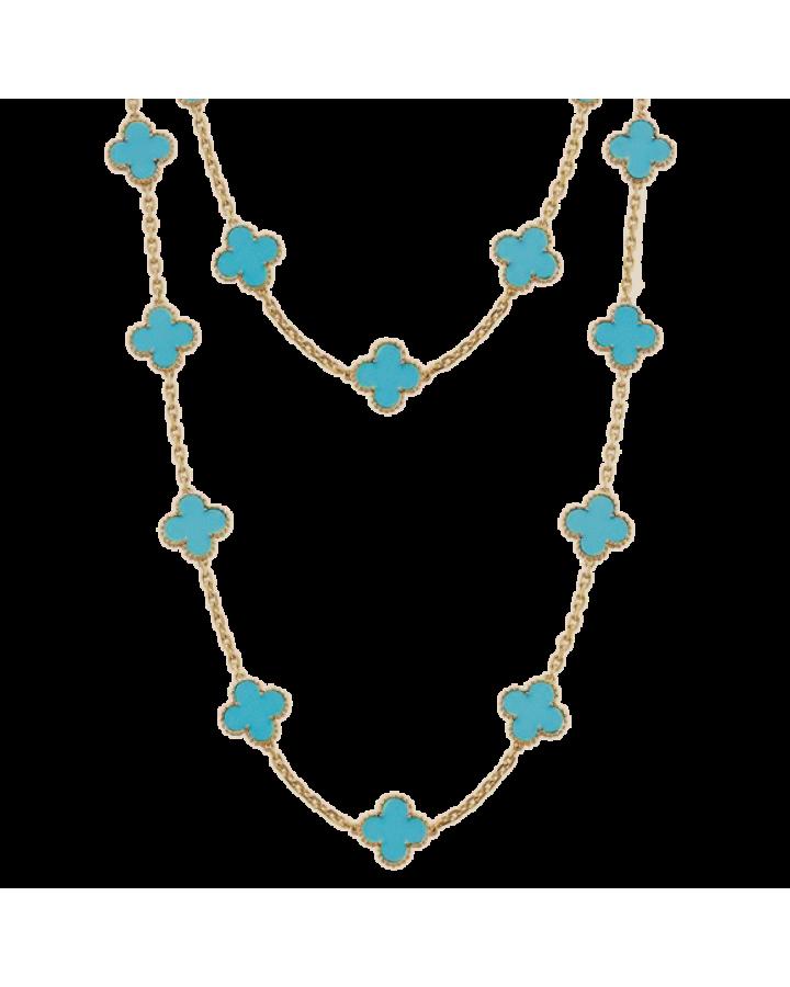 Колье Van Cleef & Arpels Van Cleef and Arpels Alhambra Vintage Turquoise 18k Yellow Gold Necklace
