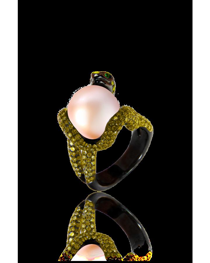 Кольцо RALFDIAMONDS  с желтыми сапфирами и жемчугом.