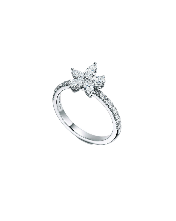 Кольцо Tiffany&Co Tiffany Victoria  кластер с бриллиантами различных огранок