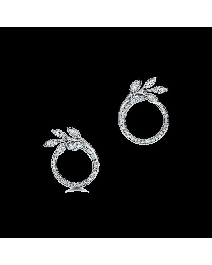 Серьги Tiffany&Co. Tiffany Victoria круглые в виде лозы из платины с бриллиантами