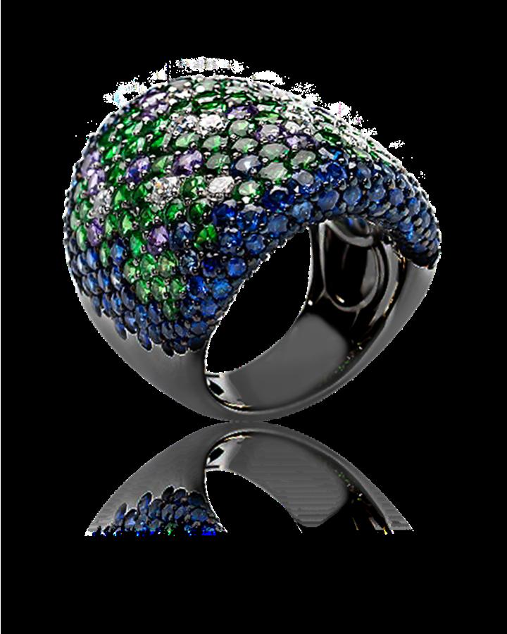 Кольцо Crivelli  с бриллиантами тсаворитами изумрудами  сапфирами