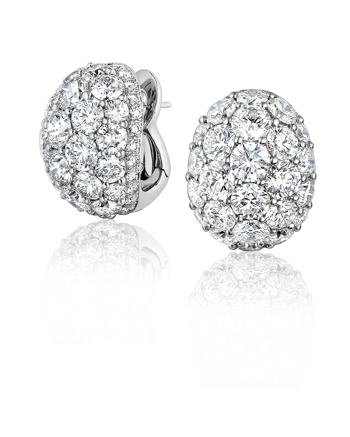 Graff CЕРЬГИ WHITE ROUND DIAMOND BOMBE EARRINGS SET WITH WHITE ROUND DIAMOND PAVE ref. RGE 558 BOMBE
