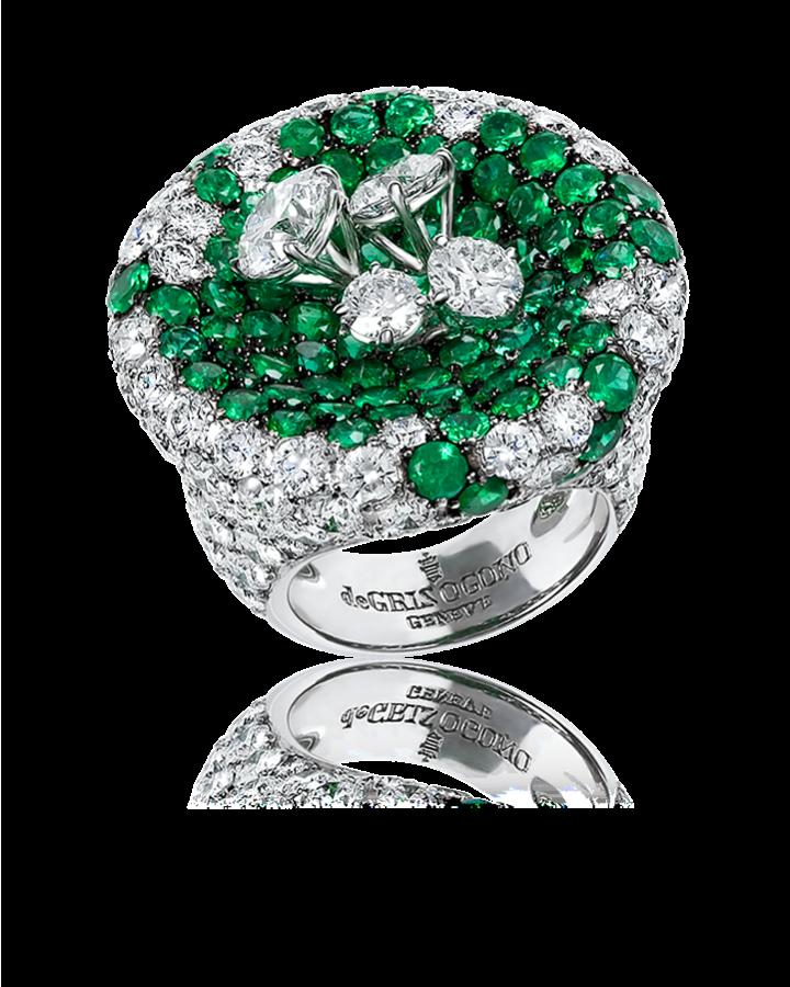 Кольцо De Grisogono  из эксклюзивной коллекции Emerald and diamond