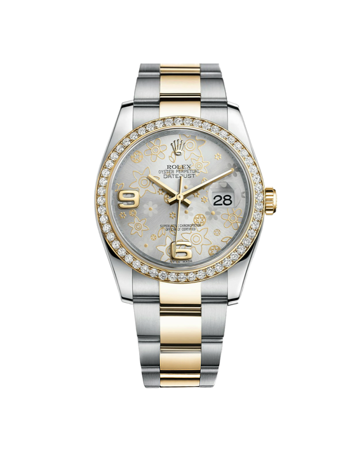 Часы Rolex Datejust 36mm Steel and Yellow Gold 116233 Silver Floral Тюнинг