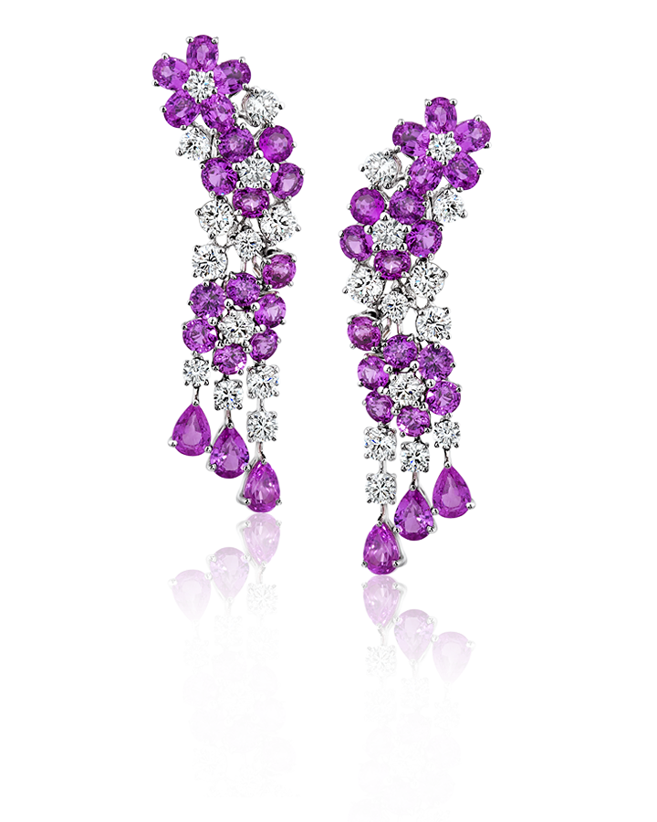 Серьги Graff  Pink Multi Shape Sapphires Earrings With White Round Diamonds ref. RGE 1258
