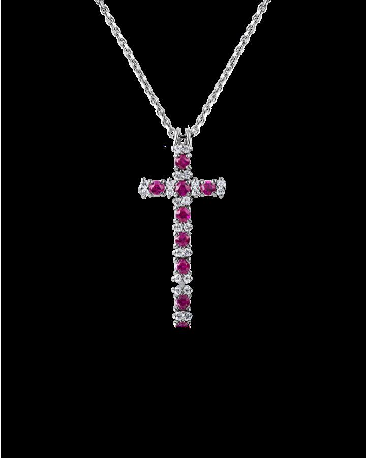 Крест RALFDIAMONDS  с бриллиантами и рубинами.