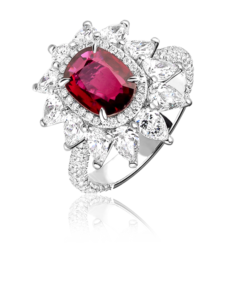 Кольцо No name с рубином 2.00ct и бриллиантами.