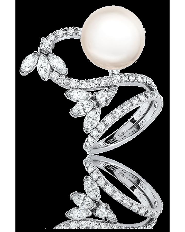 Кольцо с бриллиантом Shreiner КОЛЬЦО С ЖЕМЧУГОМ И БРИЛЛИАНТАМИ.