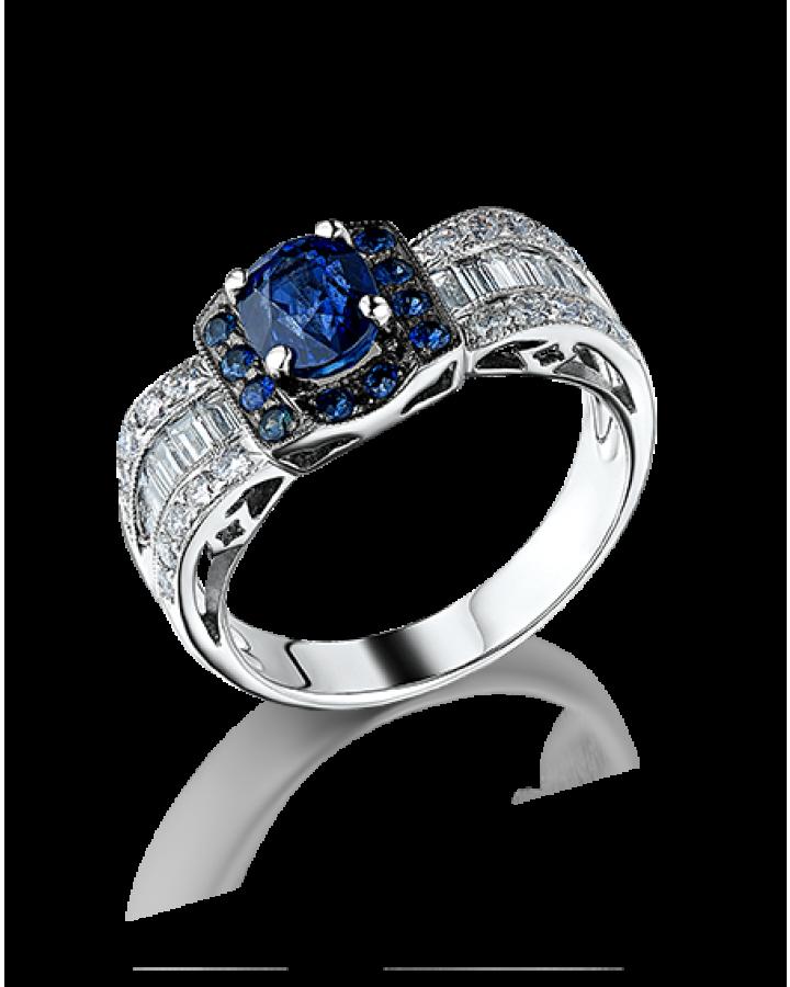 Кольцо с багетными бриллиантами и сапфиами.