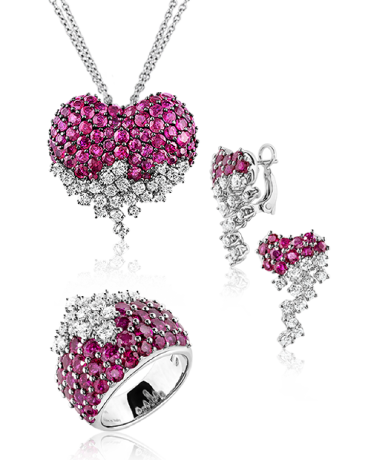 Серьги Damiani Sophia Loren Комплект с бриллиантами и рубинами