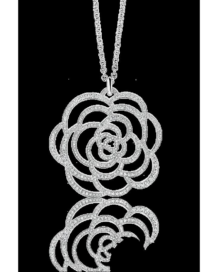 Колье Chanel  CAMÉLIA МОТИВ CAMÉLIA AJOURÉ  МОДЕЛЬ БОЛЬШОГО РАЗМЕРА БЕЛОЕ ЗОЛОТО 18 КАРАТ БРИЛЛИАНТ