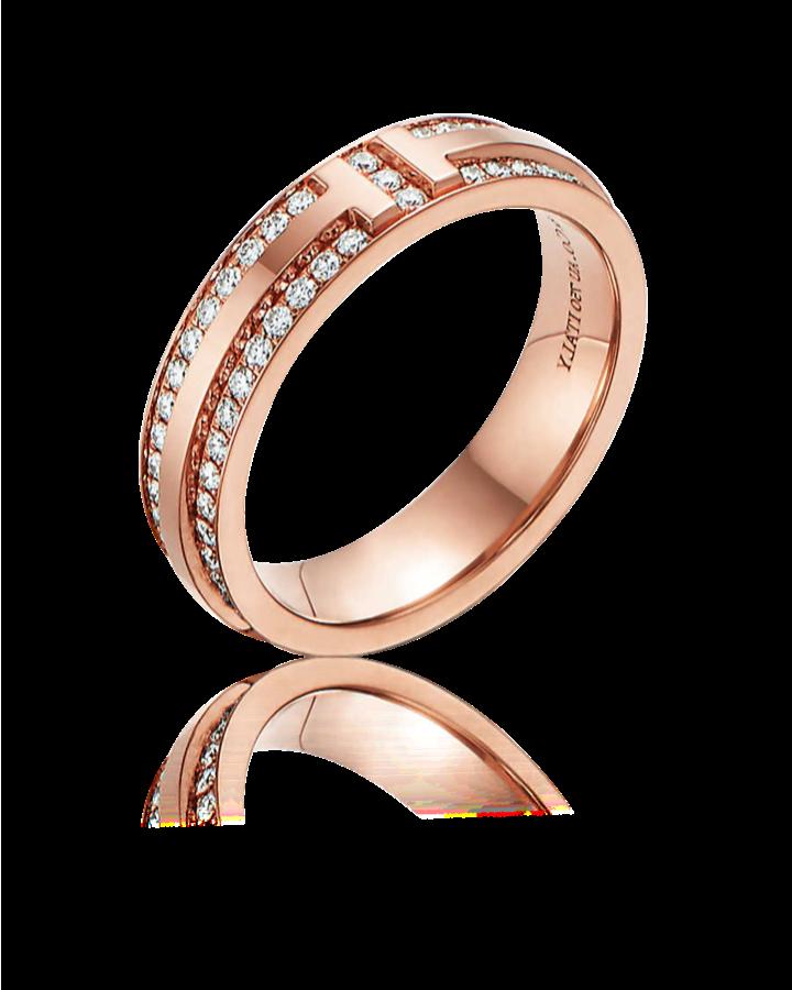 Кольцо Tiffany&Co TiffanyT Узкое с паве из бриллиантов