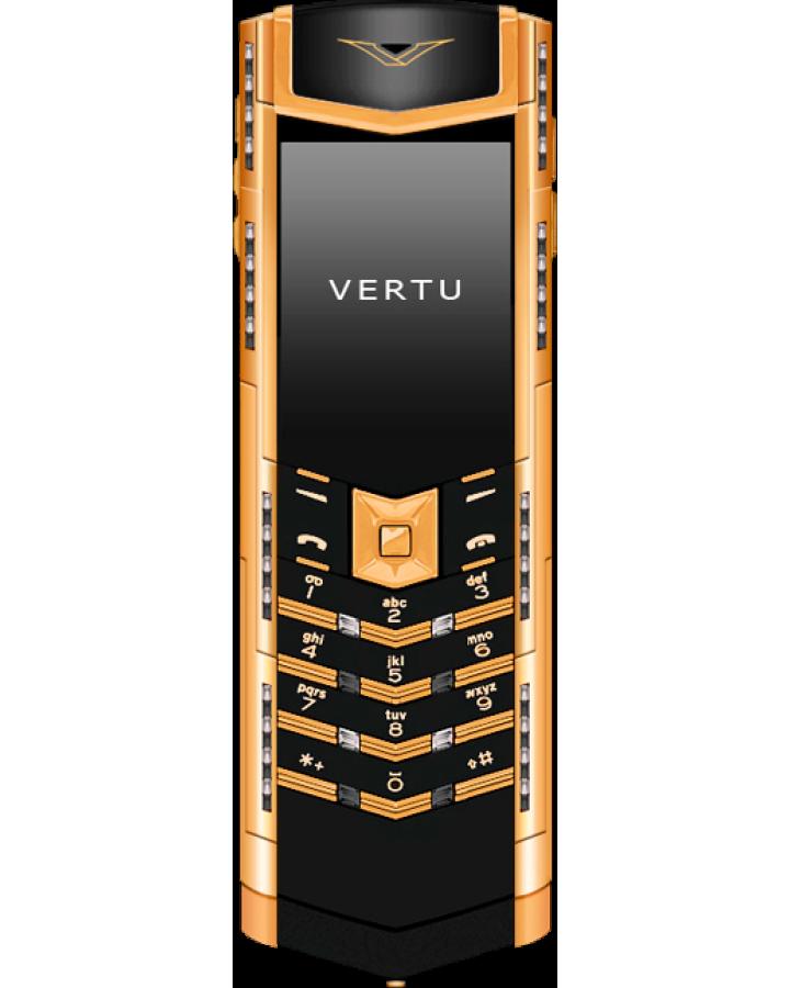 Телефон Vertu SIGNATURE S DESIGN DECO КРАСНОЕ ЗОЛОТО ЧЕРНЫЕ И БЕЛЫЕ БРИЛЛИАНТЫ
