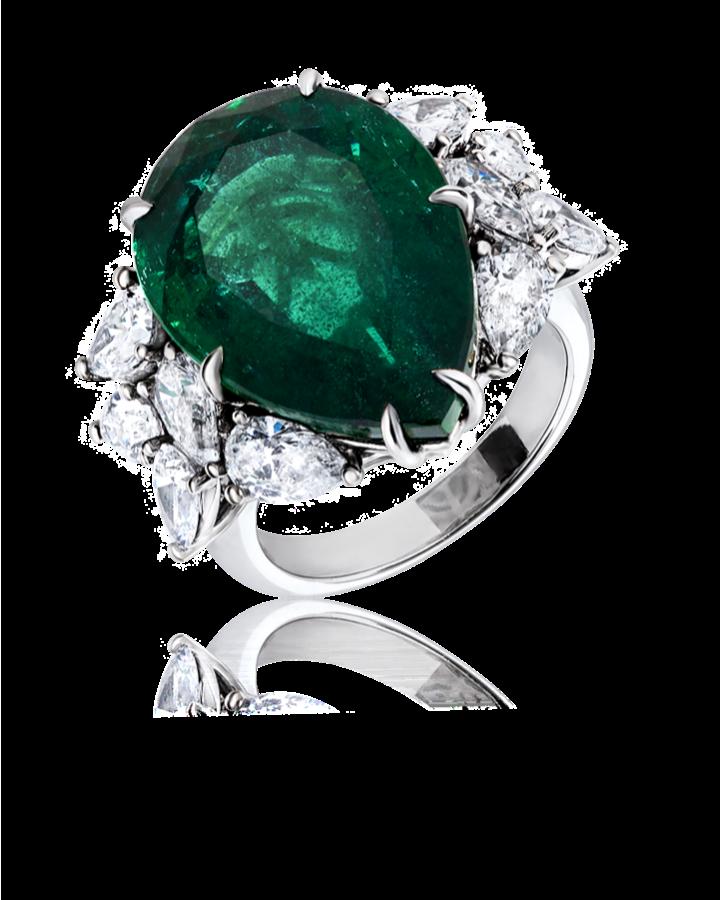 Кольцо No name с изумрудом 14 76 ct и бриллиантами.