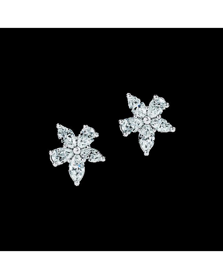 Серьги Tiffany&Co Tiffany Victoria кластеры с бриллиантами различных огранок